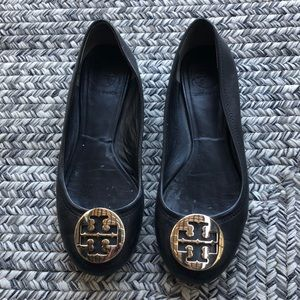 Tory Burch black leather flats size 7.5M